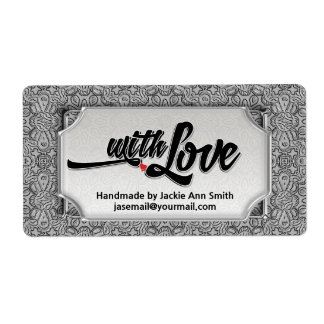 Silver Black Modern Vintage with Love Handmade Shipping Label