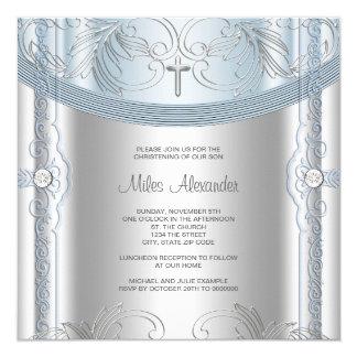 Silver Blue Baby Boy Christening 13 Cm X 13 Cm Square Invitation Card
