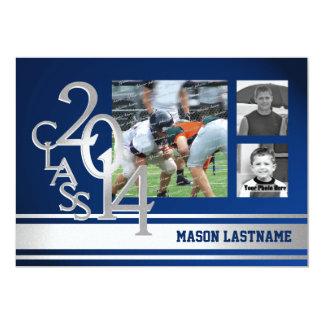 Silver Blue Varsity Stripe Graduate Tri Photo 2014 13 Cm X 18 Cm Invitation Card
