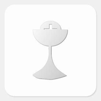 Silver Chalice and Host Square Sticker