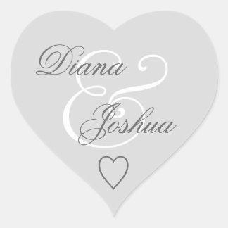 Silver Envelope Seal Wedding Heart V09 Heart Sticker