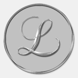 Silver Formal Wedding Monogram L Seal RSVP Invite Round Sticker