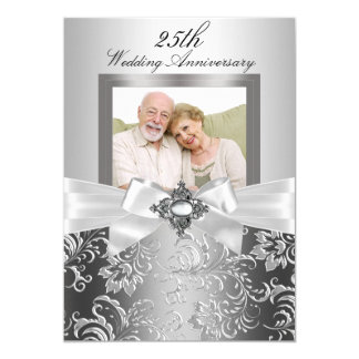 Silver Jewel Bow & Floral 25th Wedding Anniversary 13 Cm X 18 Cm Invitation Card