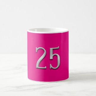 Silver Numeral 25 Hot Pink 25th Anniversary Mug