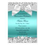 Silver Teal Glitter & Jewel Bow Quinceanera 13 Cm X 18 Cm Invitation Card
