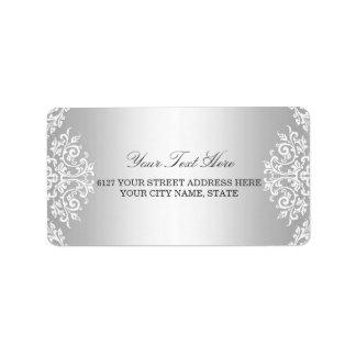 Silver White Vintage Glamour Address Label