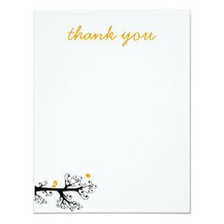 Simple Birds on Tree Branch thank you 11 Cm X 14 Cm Invitation Card