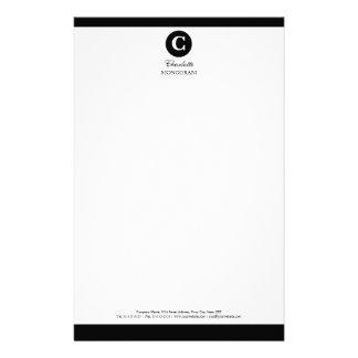 Simple Black and White Monogram Personalised Stationery