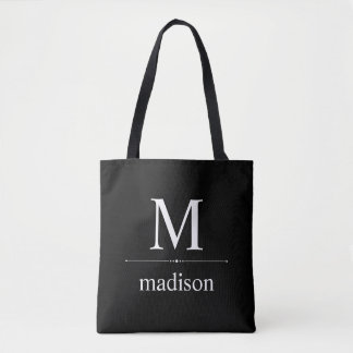 Simple Classic Monogram in Black and White Tote Bag