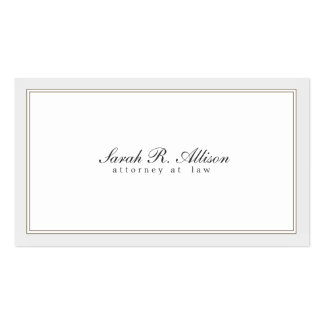 Simple Elegant Attorney White with Border Pack Of Standard Business Cards