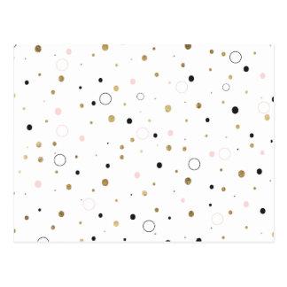 Simple gold foil pink grey confetti polka dots postcard