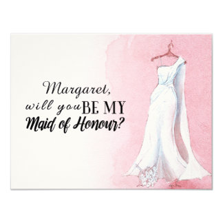 """Simple Gown """"Will you be my maid of honour"""" 11 Cm X 14 Cm Invitation Card"""