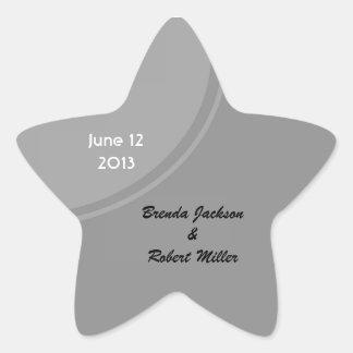 Simple Grey Modern Wedding Star Sticker