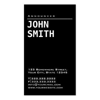 Simple Plain Black Announcer Business Card