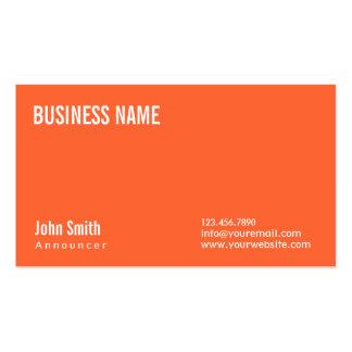 Simple Plain Orange Announcer Business Card