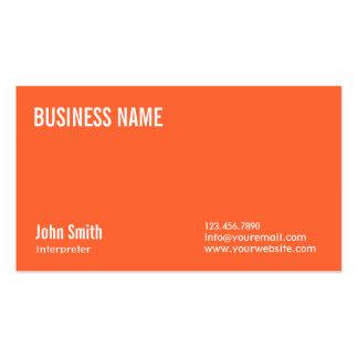 Simple Plain Orange Interpreter Business Card