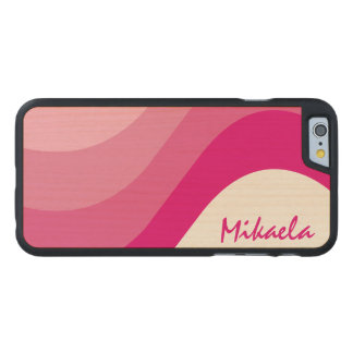Simply Custom Pink Striped Personalized Carved® Maple iPhone 6 Slim Case