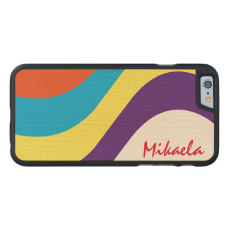 Simply Custom Striped Personalized Carved® Maple iPhone 6 Slim Case