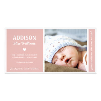 SIMPLY PURE   BABY GIRL BIRTH ANNOUNCEMENT PERSONALIZED PHOTO CARD