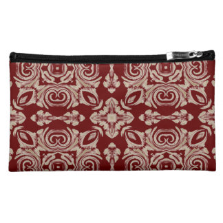 Simply Red Faux Lace Design Suede Cosmetic Bag
