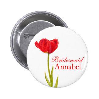 Single red tulip bridesmaid wedding pin / button