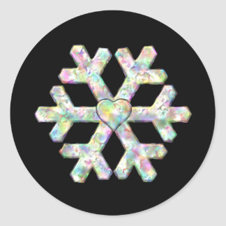 Single Snowflake on Black Winter Round Sticker
