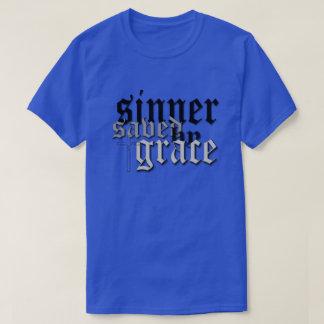 sinner saved by grace drk blu t shirts