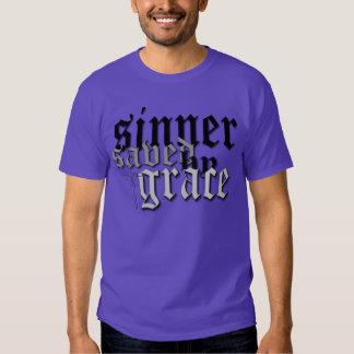 sinner saved by grace drk pur t t shirt
