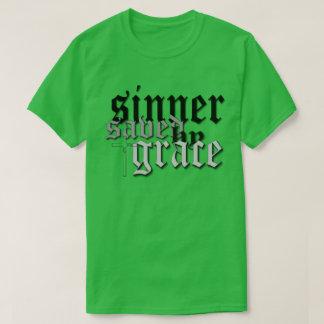 sinner saved by grace drk t var green shirt