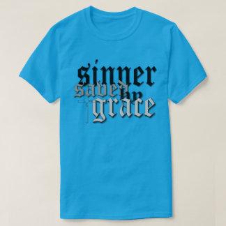 sinner saved by grace drk t var teal t-shirts