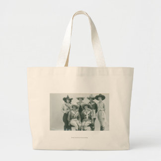 Six cowgirls in hats and sashes. jumbo tote bag