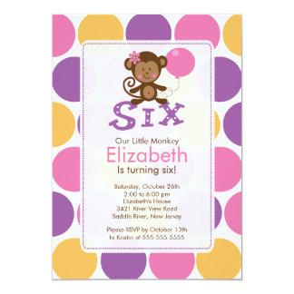 Sixth Birthday Little Monkey Birthday Invitation 6