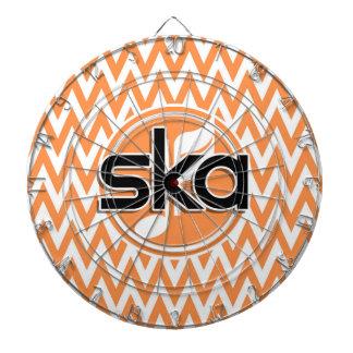 Ska; Orange and White Chevron Dart Board