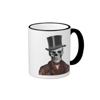 Skeleton Gentleman and Top hat Ringer Mug