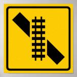 Skewed Rail Crossing Highway Sign Poster