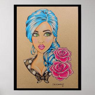 """Skinderella's """"Miss Blue"""" print"""