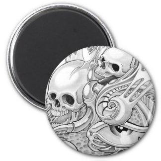 skull 6 cm round magnet