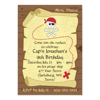Skull and Crossbones Pirate Treasure Map Birthday 13 Cm X 18 Cm Invitation Card