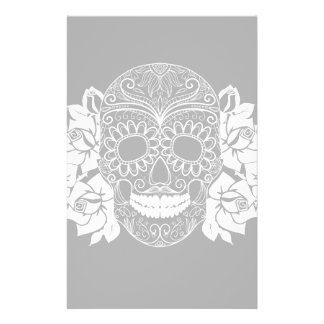Skull And Roses, Black And White Day Of The Dead Stationery Design