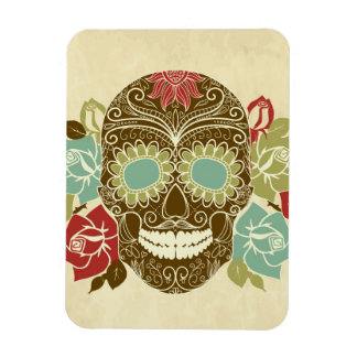 Skull And Roses, Colorful Day Of The Dead Card 2 Rectangular Photo Magnet