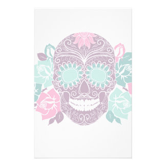 Skull And Roses, Colorful Day Of The Dead Card 3 Personalized Stationery