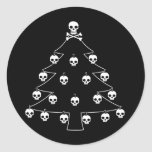 Skull Christmas Tree Round Sticker