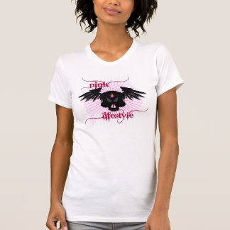 Skull in Pink lifestyle (in white shirt) Tees