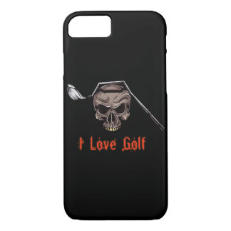 Skull with Bent Golf Club I LOVE GOLF iPhone 7 Case