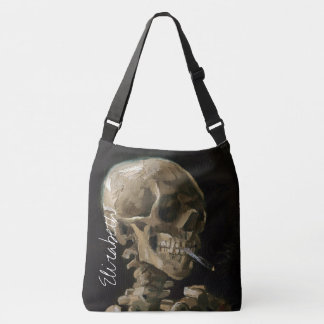 Skull with Burning Cigarette Van Gogh Goth Artwork Tote Bag