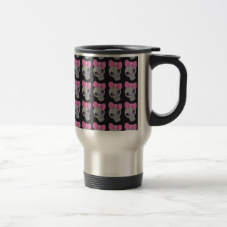 Skull with Pink Bow Print Stainless Steel Travel Mug