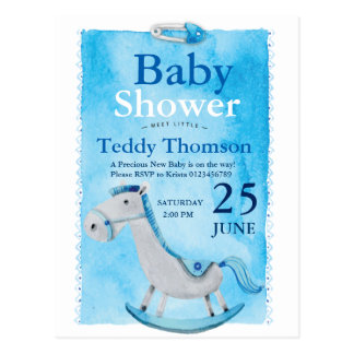 Sky Blue wooden horse safety pin boy baby shower Postcard