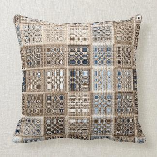 Slate Blue Brown Sari Mosaic Pattern Art Throw Cushion