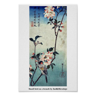Small bird on a branch by Andō,Hiroshige Poster