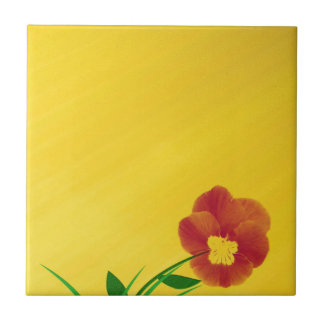 small bloom on golden underground small square tile